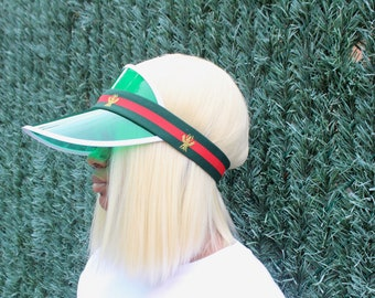 181d52294dda2 Gucci Inspired Visor Green Red Bee Inspired Headband Sun Visor Hat Elastic  Bee Fashion Designer Sun Visors Elastic Green Red Bee Headband