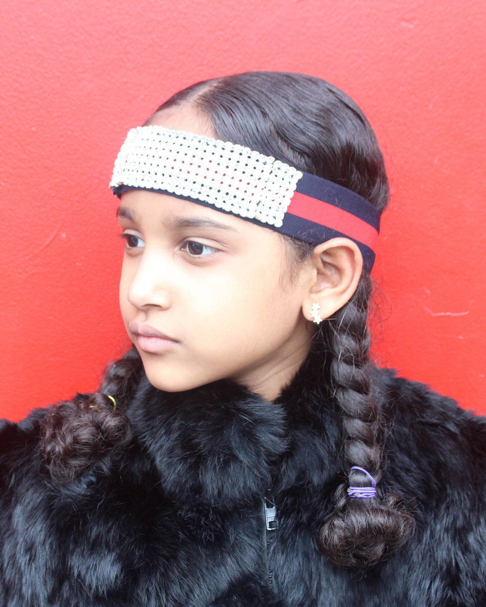 Kids Gucci Inspired Crystal Headband Blue Red Rhinestone  2664c2e069e