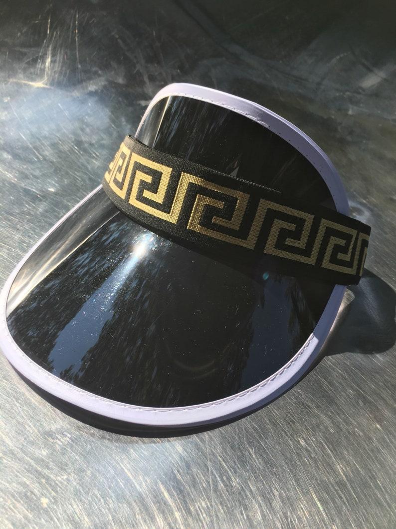 218d26c1205 Versace Inspired Visor Gold Black Headband Visor Hat Elastic