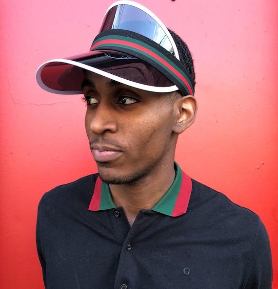 6a98edc466b Man Gucci Inspired Visor Black Green Red Strap Elastic Visor