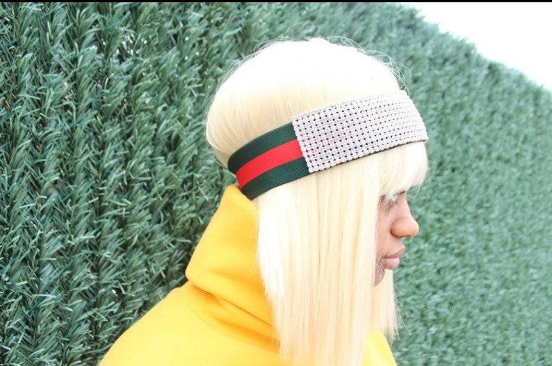 32880330a08 Crystal Headband Green   Red Elastic Fashion Headband