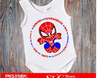 Be strong and courageous - Baby Spiderman   SVG Design Silhouette, Cricut or Print - heat transfer
