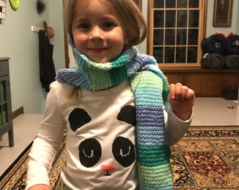 Blue and green striped tunisian crochet scarf