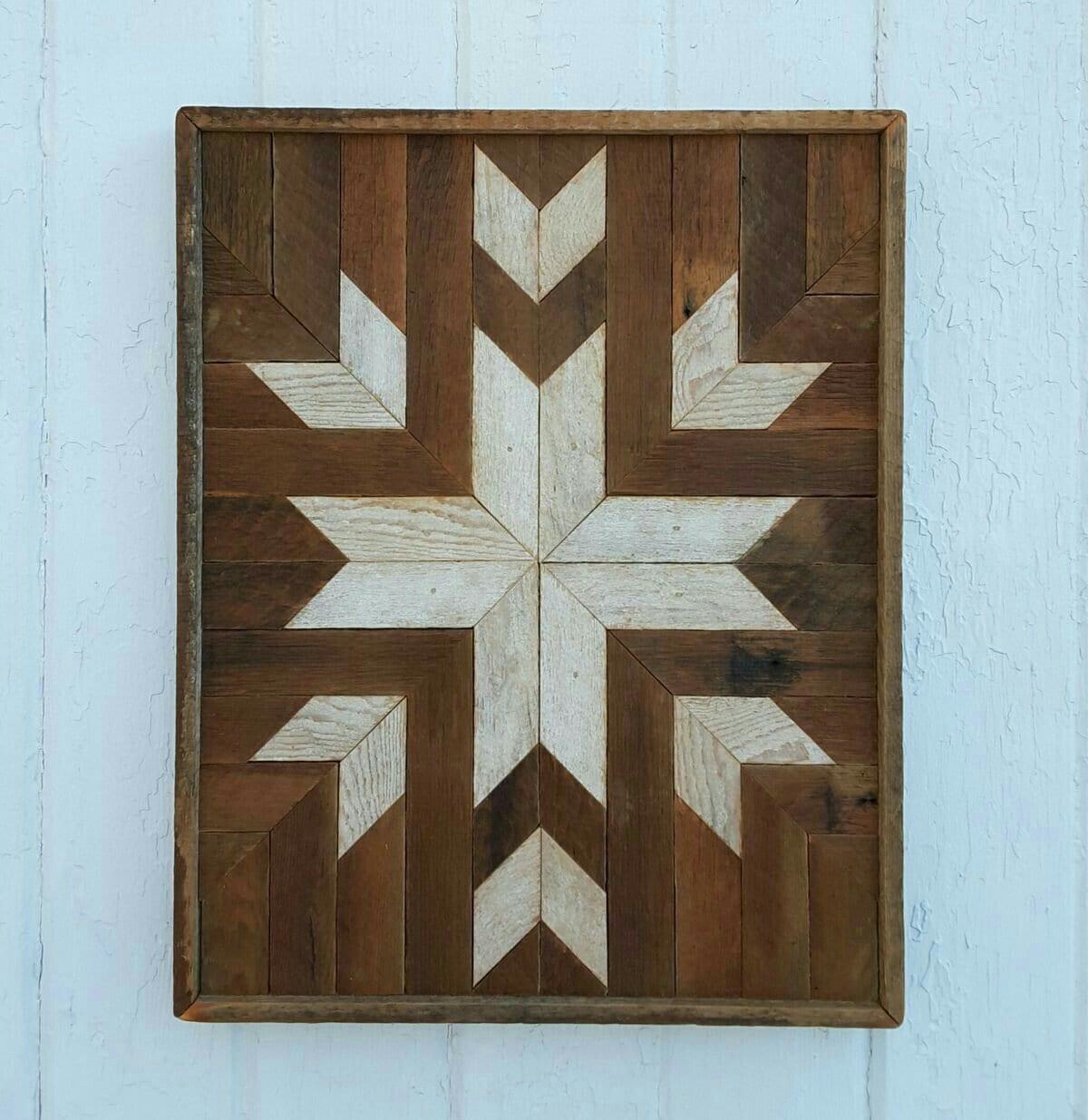 Reclaimed Home Decor: Reclaimed Wood Wall Art Decor Geometric Design Lath Art