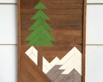 Reclaimed Wood Wall Art, Decor, Pine Tree Mountain Sculpture, Wood Wall Tree Art, Ski Lodge Decor, Mountains, Living room Art