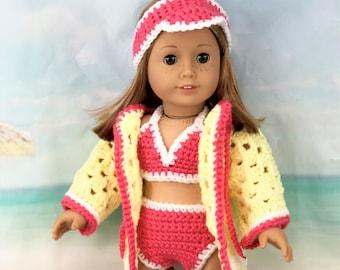 Crochet swimsuit doll pattern  1940 swimsuit Barbie  butterfly crochet top pattern  barbie doll clothes