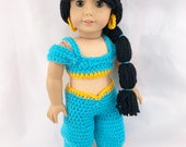 18 quot Doll Princess Crochet PDF pattern, Doll clothes pattern, turquoise gold pattern, black hair wig pattern, doll halloween costume