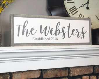 Last name sign wood, Wedding sign Last name, Personalized sign Custom wood sign, Anniversary gift,  Established year sign, 8x24 sign, Gifts