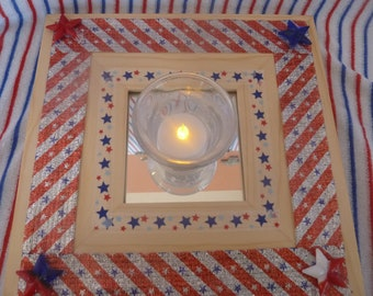 Patriotic holidays/ 4th of July/Red, White and blue candle holder or wall mirror, up cycled,handmade