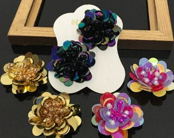 20Pcs Handmade Sequins Beads Flower Applique Patches Hair Clip 2ef2be6828ef