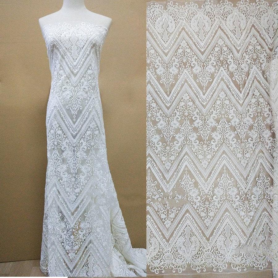 5yards Off broderie broderie broderie blanche maille tulLe dentelle tissu grand modèle perles à la main dentelle africaine tissus pour mariage soirée robe en dentelle 6dc6e8