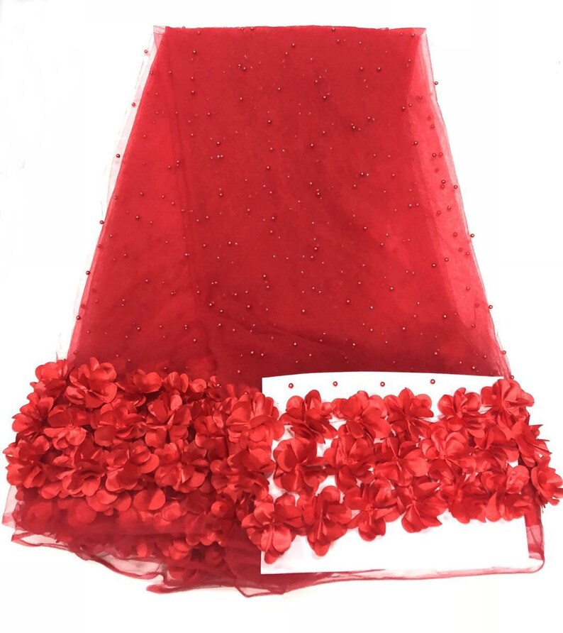 5yards new 3d flower with beads on mesh guipure lace fabric elegent wedding dress lace fabric