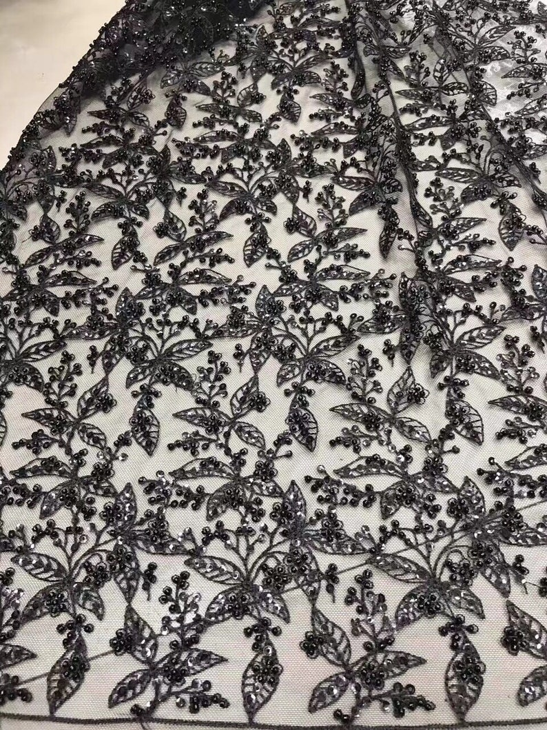 5yards Luxurious wedding dress Lace Fabric With handmade Beaded on leaves Embroidery Tulle French Lace fabric
