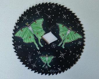 "6"" Hand Painted Metal Saw blade Luna Moths"