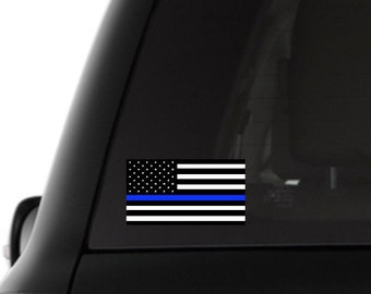 Thin Blue Line Flag Dog Car Decal