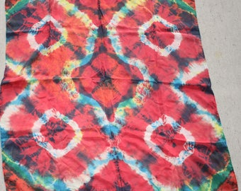 "30x30"" tie dye, 8mm habotai silk scarf  red , blue and yellow"