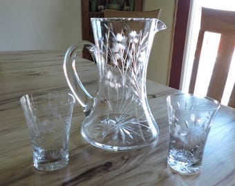 Vintage Etched Glass Drink Set, Flower Etched Crystal Pitcher with Two Glasses, Etched Glass Tankard-Style Pitcher with 2 Matching Glasses