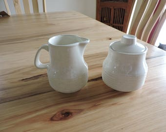 Vintage Pottery Creamer and Sugar Bowl, Mid-Century Sugar Bowl and Creamer, Ribbed Pottery Sugar and Creamer with Speckled Glaze