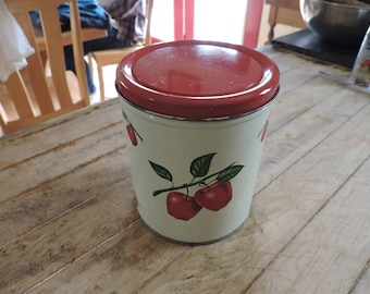 Vintage Decoware Tin with Apples, Mid-Century Cream and Red Tin Canister, Cream Decoware Tin with Red Apples and Red Lid, Apple Canister