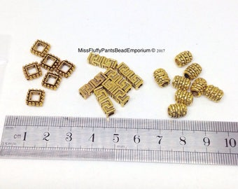 Beads, Gold, mixed lot