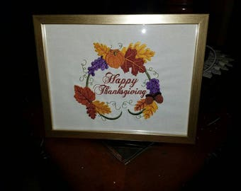 5x7 Embroidered Thanksgiving Picture