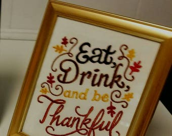 5x7 Framed Embroidered Thanksgiving Picture