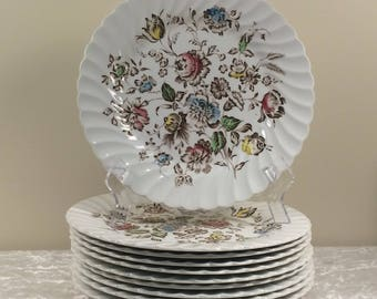 Staffordshire Bouquet, Johnson Bros, large set of china, 58 pieces