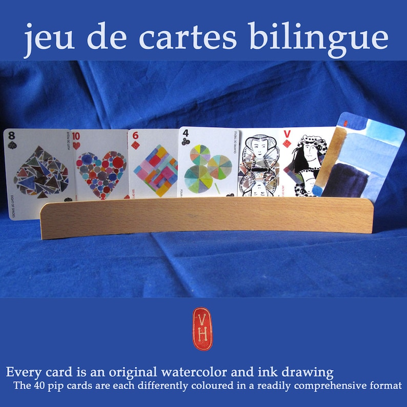 bilingual artist card game watercolor and Chinese ink made in image 1
