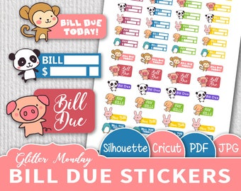 Kawaii Bill Due Stickers, Printable Bills Stickers, Cute Functional Stickers, Printable Planner Stickers, Pig, Monkey, Panda, Bunny Stickers