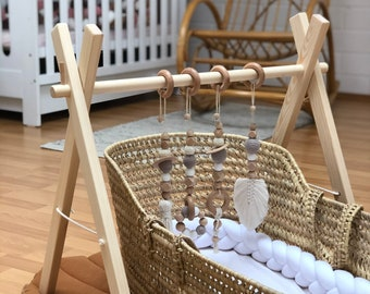 Playbow, Baby Gym for Twins, Game Rape, Trapeze Game, Wooden Playcenter with Pendant, Montessori Toy, Macrame Pendant