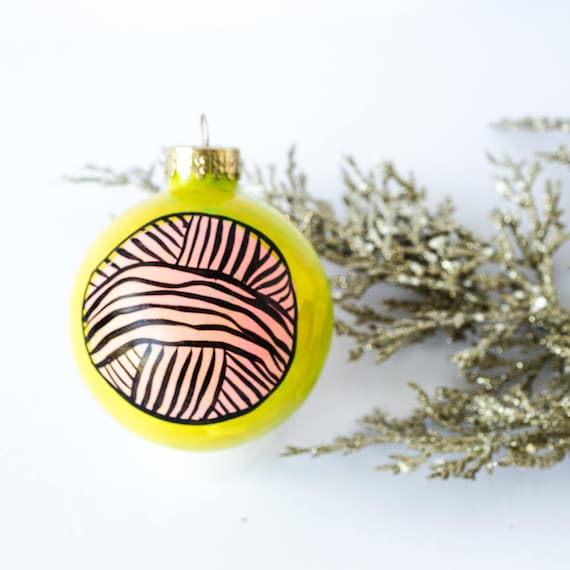 image 0 - Handpainted Christmas Ornament Yarn Gifts Knitting Knitter Etsy