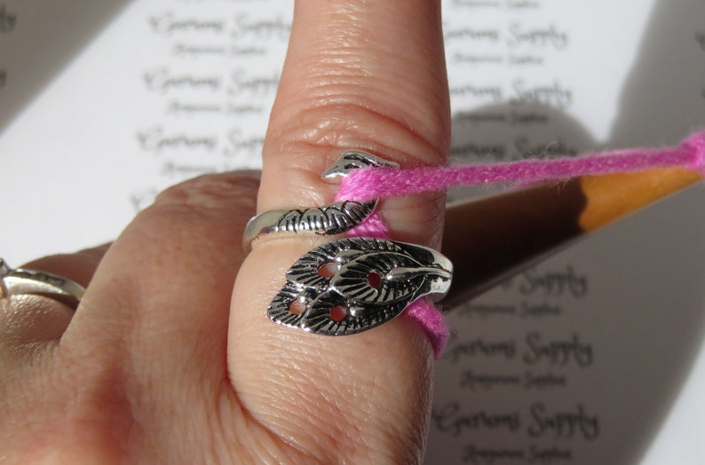 Stainless Steel Adjustable Ring  Peacock  1 Count  Yarn image 8