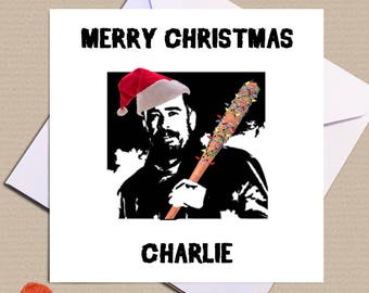 Personalised Walking Dead Christmas Card - Festive Negan and Lucille - Negan is feeling festive, he'll let you keep 40% of your gifts!