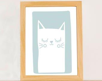 Smiling cat, Kids cat Illustration, Cat Nursery, Children's Print, Digital Download, Printable Poster, Nursery Wall Art, Kids Print, A4