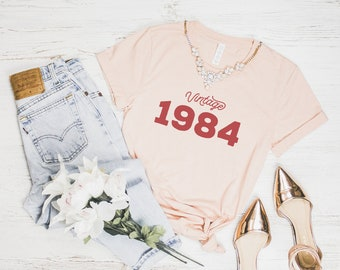 35th Birthday Shirt 1984 Vintage Party Gift For Women Tee