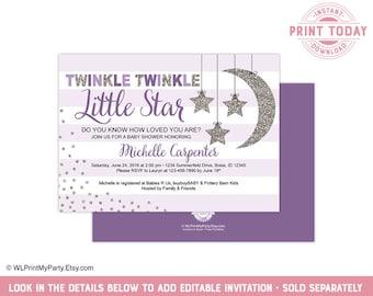 Baby shower invitation girl purple etsy twinkle little star baby shower invite template for girl shower invitations instant download purple silver wlp00710 filmwisefo