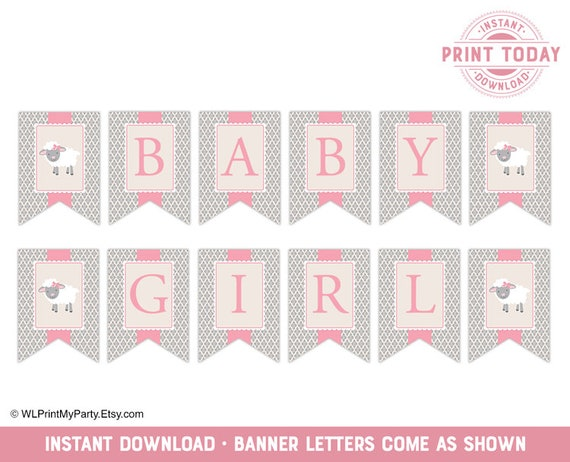 photo about Baby Shower Banner Printable referred to as lamb youngster shower banner, printable child shower decorations