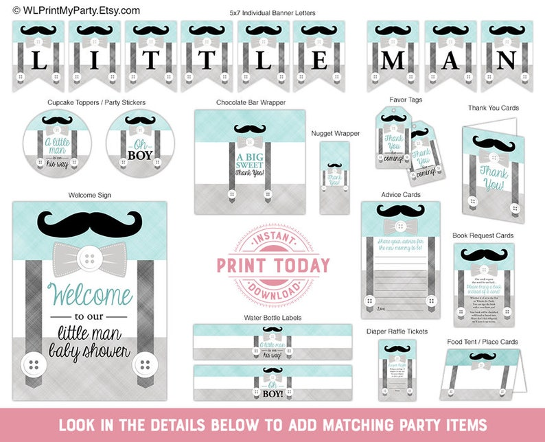Seafoam Mint Gray DIY Printable INSTANT DOWNLOAD WLP00771 Little Man Baby Shower Bring a Book for Baby Cards for Boys