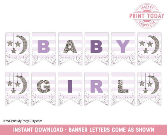 photograph about Printable Baby Shower Decorations called Female Kid Shower Banner, Twinkle Tiny Star Printable Boy or girl