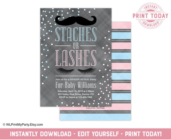 Staches Or Lashes Gender Reveal Party Invitation Ideas Pink Blue