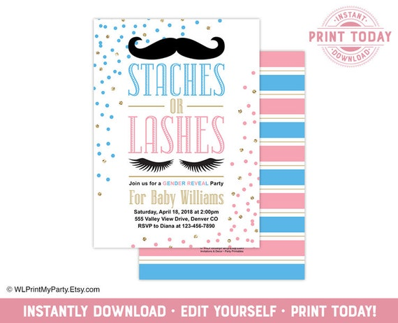 Gender Reveal Invitation Template Pink Blue Gold Staches Or