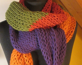 Women's wool scarf with pompom - handmade scarf - multicolored scarf