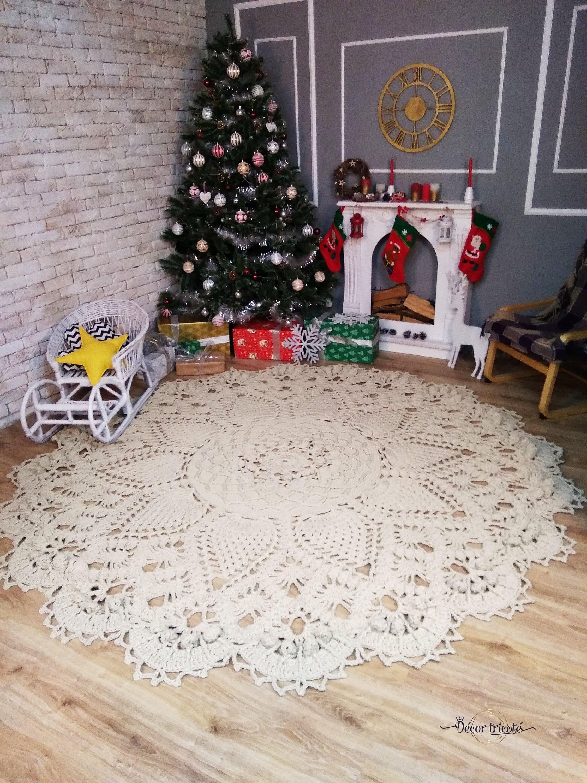 Giant Crochet Rug 107 In Doily Rug Crochet Carpet Round Rope Etsy
