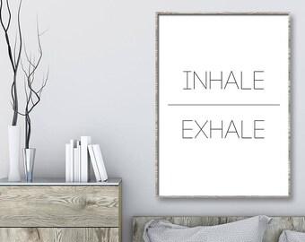 Einatmen, Ausatmen Druck | Atmen Wandkunst | Fitness Druck | Yoga Wandkunst  | Druckbare Wandkunst | Yoga Wand Dekor | Schlafzimmer Dekor | Meditation