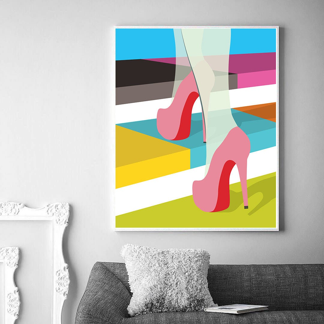 Modern Wall Print Bright Print Pink Shoes Poster High | Etsy