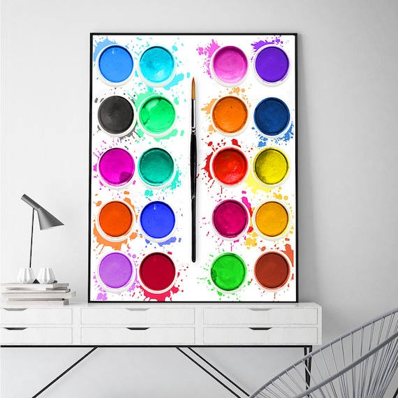 Messy Walls But I Like It: Bright Wall Art Paints Print Painting Wall Decor Messy