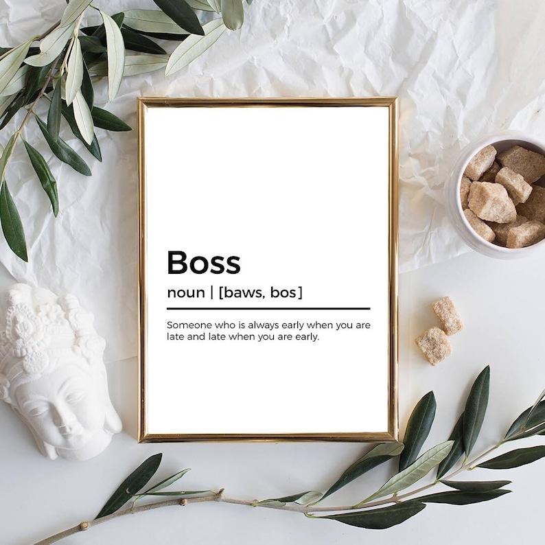 Wall Decor Boss Definition Print Gift for Boss Office Printable Art Funny Definition Print Funny Office Decor Funny Office Quote