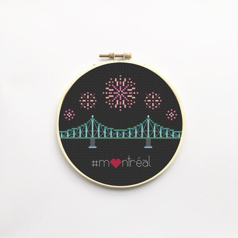 Montreal Bridge and Fireworks Cross Stitch PDF Pattern