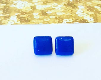 Dark Blue Mosaic Tile Glass Stud Earrings, dark blue earrings, blue earrings, square earrings, tile earrings, glass earrings, stud earrings