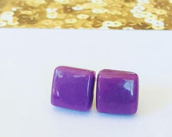Purple Mosaic Tile Glass Stud Earrings. Square stud earrings, purple earrings, hypoalergenic earrings, glass earrings, tile earrings.